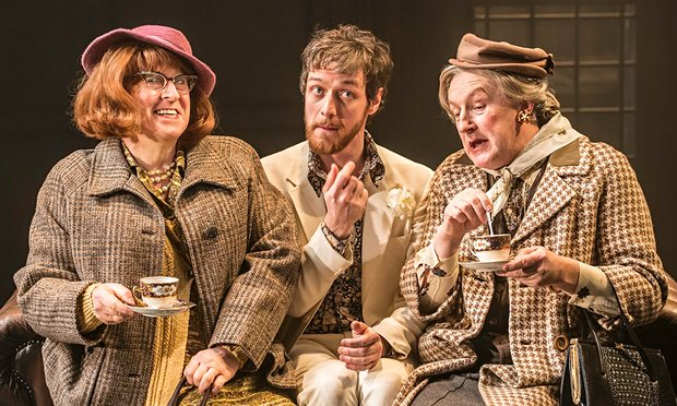 'Devilish charm': James McAvoy (centre) finds teatime a drag with Forbes Masson and Paul Leonard in The Ruling Class. Photograph: Johan Persson